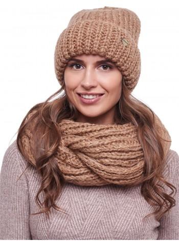 шапка со снудом  цвет коричневый