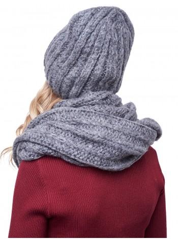 шапка со снудом  цвет темно-серый