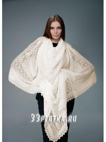 Пуховый платок серый 130 х 130