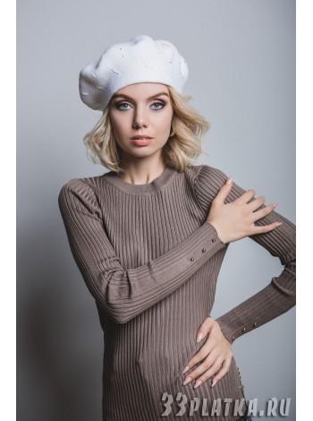 шапка-берет цвет белый